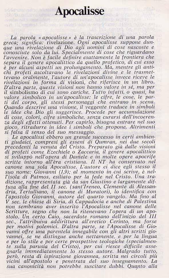 APOCALISSE DI GIOVANNI - COMMENTO DELLA BIBBIA DI GERUSALEMME